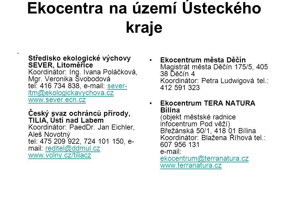 Ekocentra na území Ústeckého kraje Středisko ekologické výchovy SEVER, Litoměřice Koordinátor: Ing. Ivana Poláčková, Mgr. Veronika Svobodová tel: 416