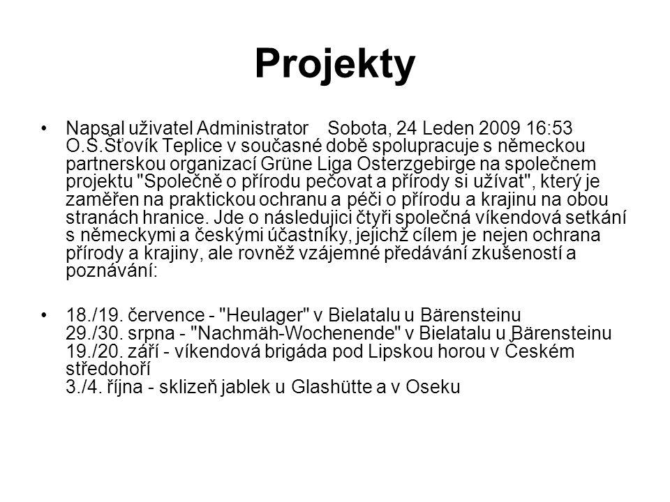 Projekty Napsal uživatel Administrator Sobota, 24 Leden 2009 16:53 O.S.Šťovík Teplice v současné době spolupracuje s německou partnerskou organizací G