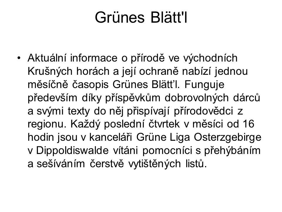 Grünes Blätt'l Aktuální informace o přírodě ve východních Krušných horách a její ochraně nabízí jednou měsíčně časopis Grünes Blätt'l. Funguje předevš