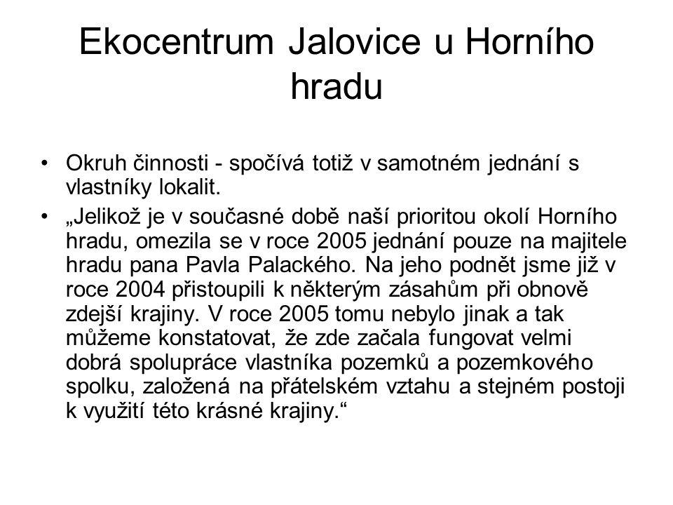 """Ekocentrum Jalovice u Horního hradu Okruh činnosti - spočívá totiž v samotném jednání s vlastníky lokalit. """"Jelikož je v současné době naší prioritou"""