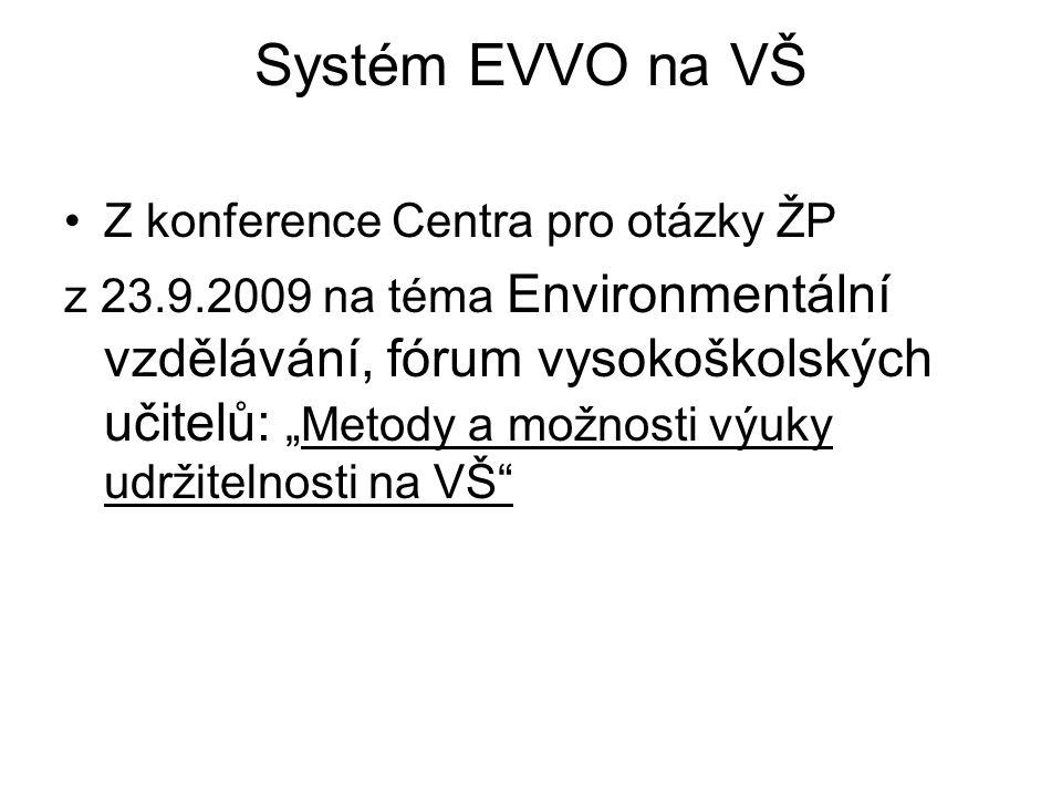 """Systém EVVO na VŠ Z konference Centra pro otázky ŽP z 23.9.2009 na téma Environmentální vzdělávání, fórum vysokoškolských učitelů: """"Metody a možnosti"""
