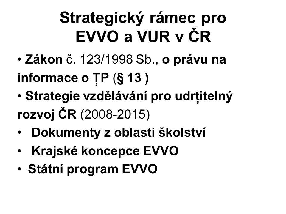 Strategický rámec pro EVVO a VUR v ČR Zákon č. 123/1998 Sb., o právu na informace o ŢP (§ 13 ) Strategie vzdělávání pro udrţitelný rozvoj ČR (2008-201