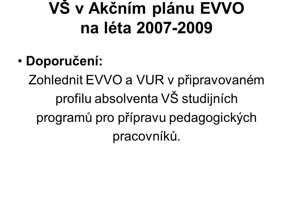 VŠ v Akčním plánu EVVO na léta 2007-2009 Doporučení: Zohlednit EVVO a VUR v připravovaném profilu absolventa VŠ studijních programů pro přípravu pedag