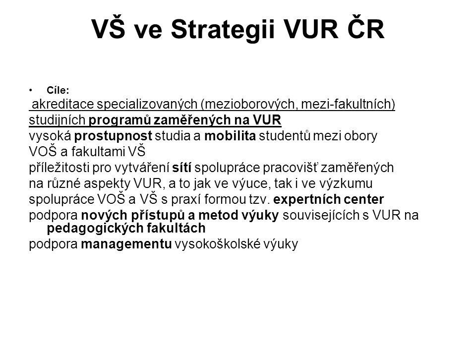 VŠ ve Strategii VUR ČR Cíle: akreditace specializovaných (mezioborových, mezi-fakultních) studijních programů zaměřených na VUR vysoká prostupnost stu
