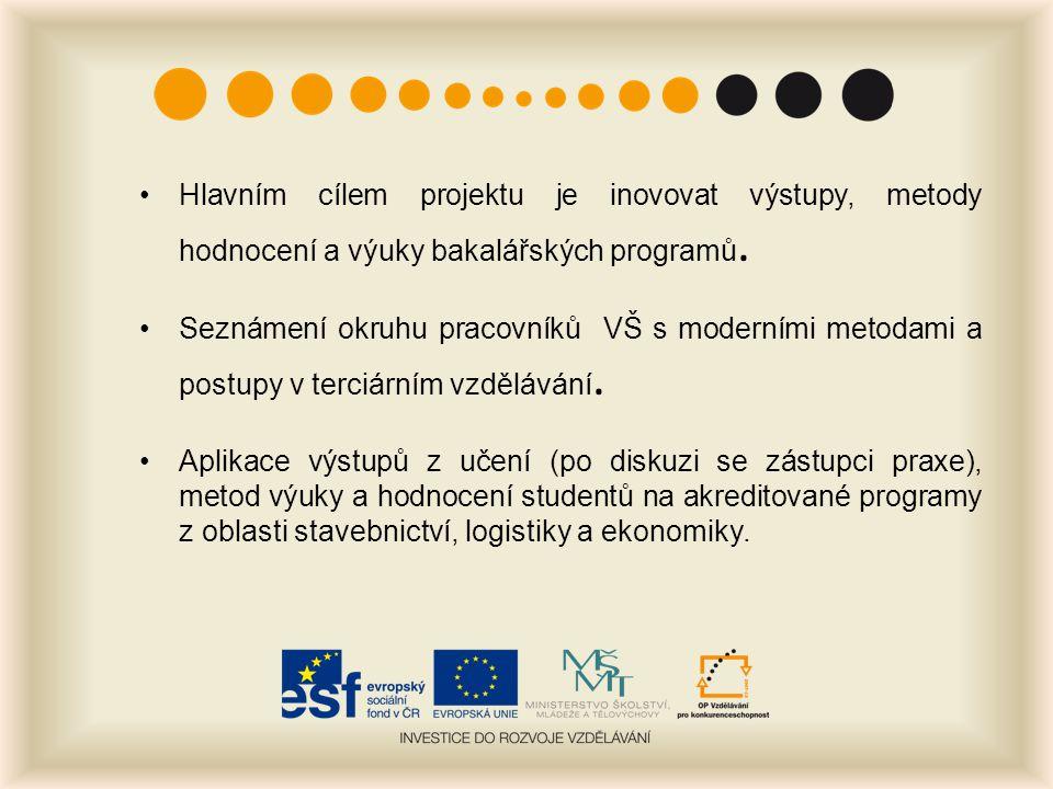 Hlavním cílem projektu je inovovat výstupy, metody hodnocení a výuky bakalářských programů.