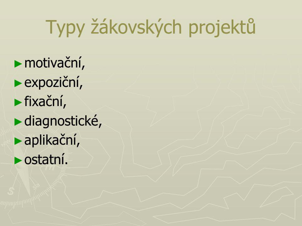 Typy žákovských projektů ► ► motivační, ► ► expoziční, ► ► fixační, ► ► diagnostické, ► ► aplikační, ► ► ostatní.