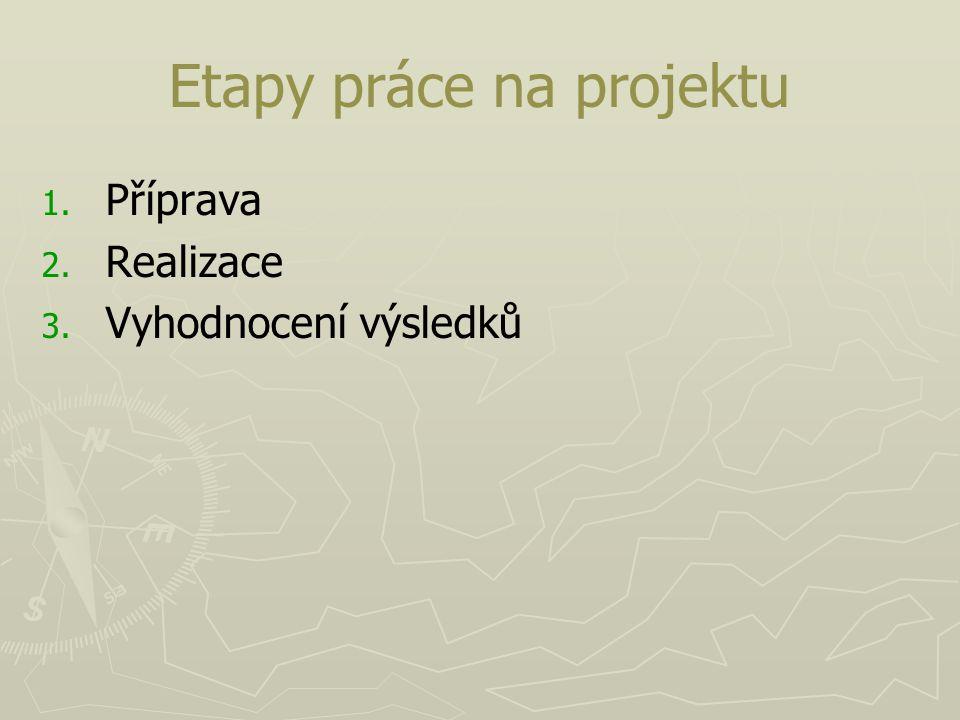 Etapy práce na projektu 1. 1. Příprava 2. 2. Realizace 3. 3. Vyhodnocení výsledků