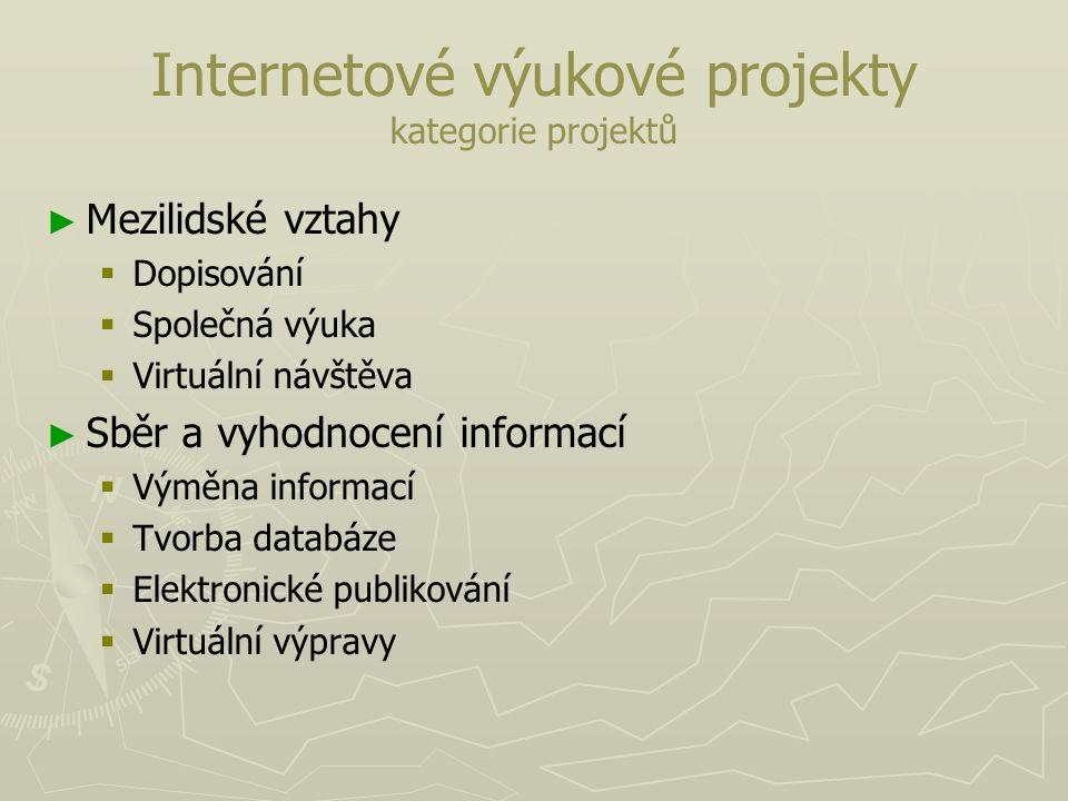 Internetové výukové projekty kategorie projektů ► ► Mezilidské vztahy   Dopisování   Společná výuka   Virtuální návštěva ► ► Sběr a vyhodnocení