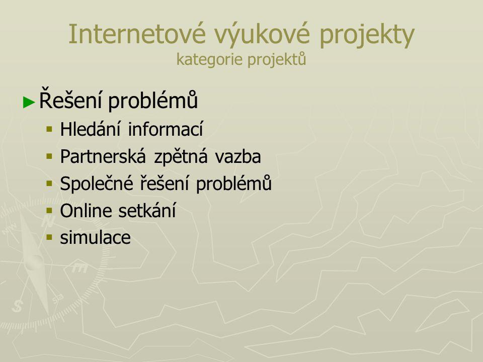 Internetové výukové projekty kategorie projektů ► ► Řešení problémů   Hledání informací   Partnerská zpětná vazba   Společné řešení problémů  