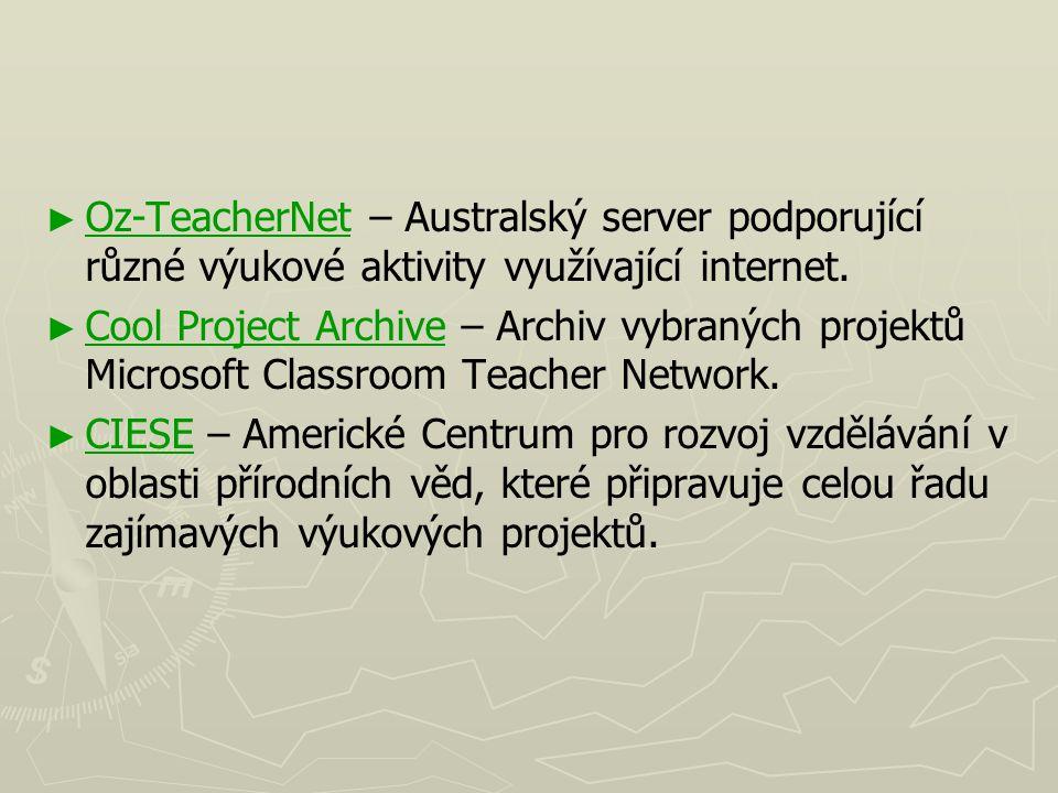 ► ► Oz-TeacherNet – Australský server podporující různé výukové aktivity využívající internet. Oz-TeacherNet ► ► Cool Project Archive – Archiv vybraný