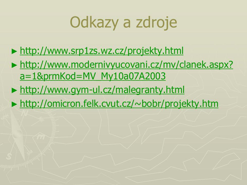 Odkazy a zdroje ► ► http://www.srp1zs.wz.cz/projekty.html http://www.srp1zs.wz.cz/projekty.html ► ► http://www.modernivyucovani.cz/mv/clanek.aspx? a=1