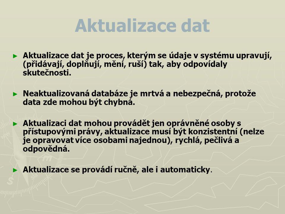 Aktualizace dat ► ► Aktualizace dat je proces, kterým se údaje v systému upravují, (přidávají, doplňují, mění, ruší) tak, aby odpovídaly skutečnosti.
