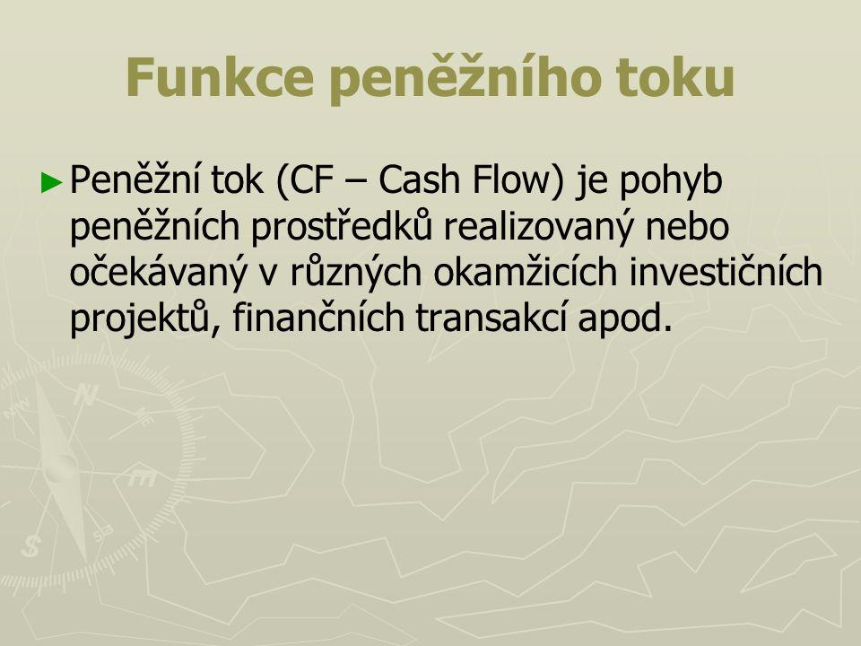 Funkce peněžního toku ► ► Peněžní tok (CF – Cash Flow) je pohyb peněžních prostředků realizovaný nebo očekávaný v různých okamžicích investičních proj