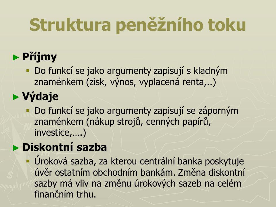 Struktura peněžního toku ► ► Příjmy   Do funkcí se jako argumenty zapisují s kladným znaménkem (zisk, výnos, vyplacená renta,..) ► ► Výdaje   Do f