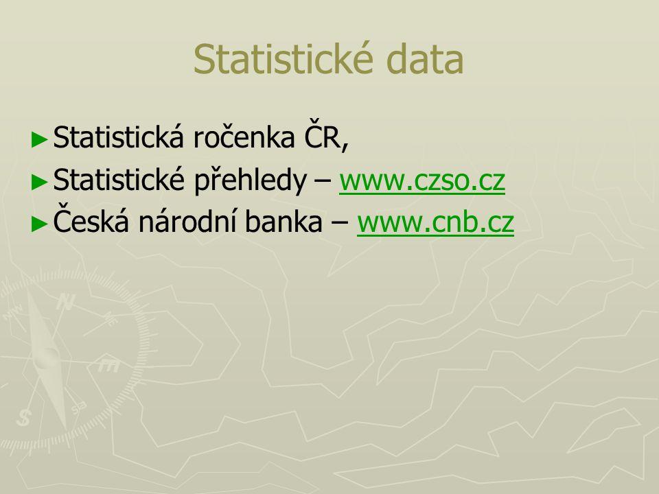 Statistické data ► ► Statistická ročenka ČR, ► ► Statistické přehledy – www.czso.czwww.czso.cz ► ► Česká národní banka – www.cnb.czwww.cnb.cz