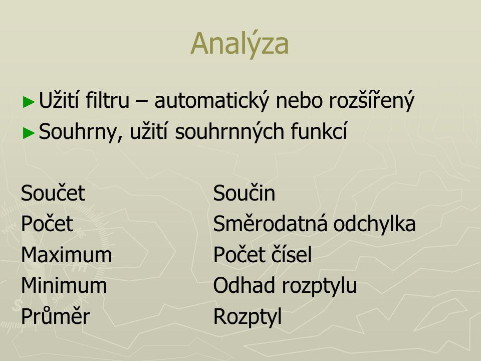Analýza ► ► Užití filtru – automatický nebo rozšířený ► ► Souhrny, užití souhrnných funkcí SoučetSoučin PočetSměrodatná odchylka MaximumPočet čísel Mi