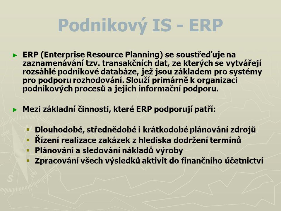 Podnikový IS - ERP ► ► ERP (Enterprise Resource Planning) se soustřeďuje na zaznamenávání tzv. transakčních dat, ze kterých se vytvářejí rozsáhlé podn
