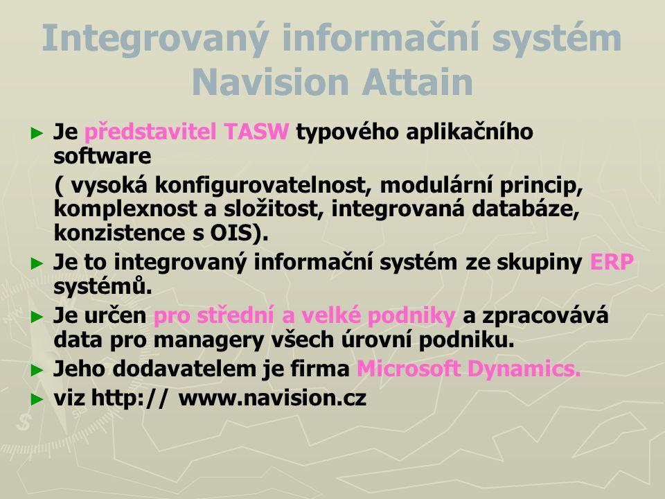 Integrovaný informační systém Navision Attain ► ► Je představitel TASW typového aplikačního software ( vysoká konfigurovatelnost, modulární princip, k