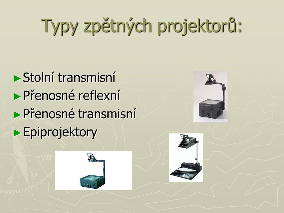 Typy zpětných projektorů: ► Stolní transmisní ► Přenosné reflexní ► Přenosné transmisní ► Epiprojektory