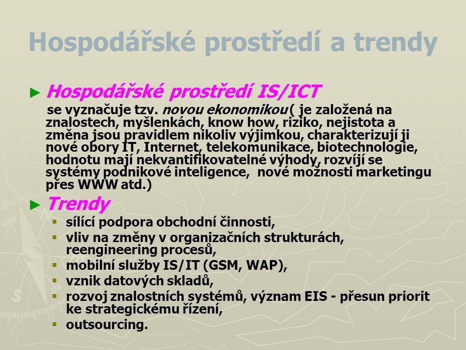 Hospodářské prostředí a trendy ► ► Hospodářské prostředí IS/ICT se vyznačuje tzv. novou ekonomikou ( je založená na znalostech, myšlenkách, know how,