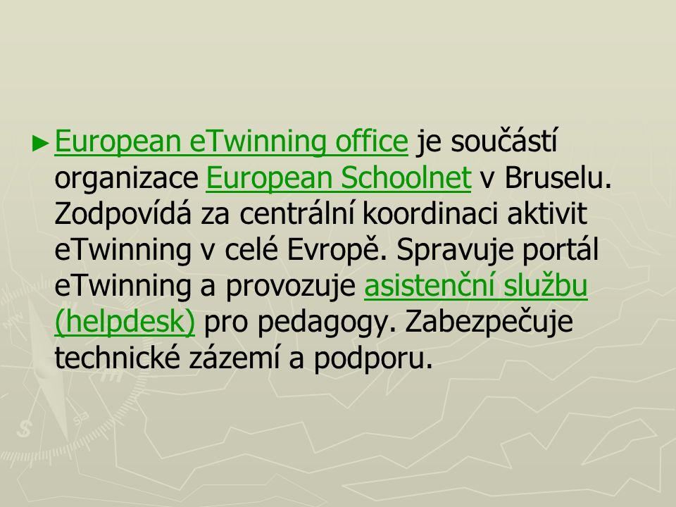 ► ► European eTwinning office je součástí organizace European Schoolnet v Bruselu. Zodpovídá za centrální koordinaci aktivit eTwinning v celé Evropě.