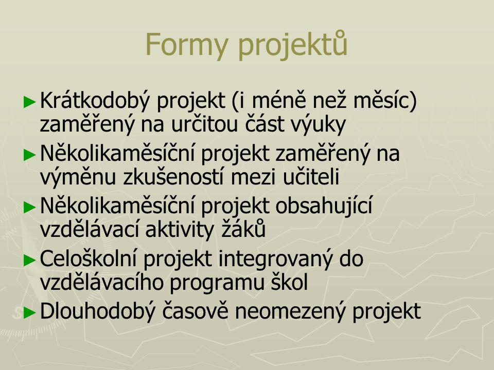 Formy projektů ► ► Krátkodobý projekt (i méně než měsíc) zaměřený na určitou část výuky ► ► Několikaměsíční projekt zaměřený na výměnu zkušeností mezi