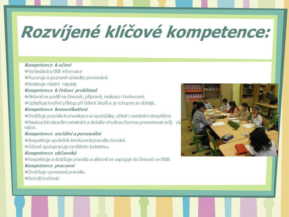 Mezioborové vazby:  S českým jazykem, matematikou, prvoukou, výtvarnou výchovou, pracovními činnostmi, hudební výchovou, přírodovědou, přírodopisem, anglickým jazykem, informatikou Integrace průřezových témat:  Osobnostní a sociální výchova  Utváří dobré mezilidské vztahy v kolektivu.