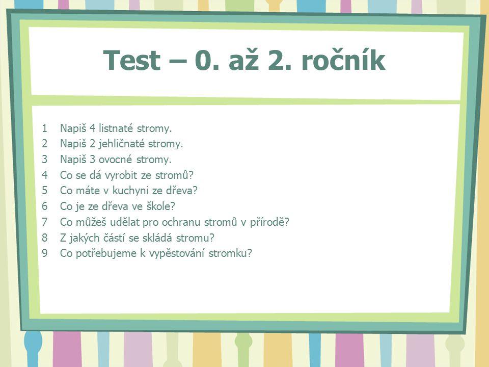 Test – 0. až 2. ročník 1Napiš 4 listnaté stromy.