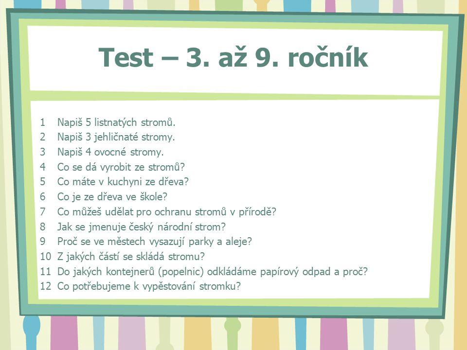 Test – 3. až 9. ročník 1Napiš 5 listnatých stromů.