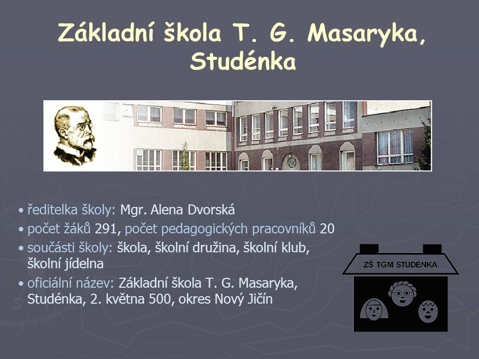 Základní škola T. G. Masaryka, Studénka ředitelka školy: Mgr.