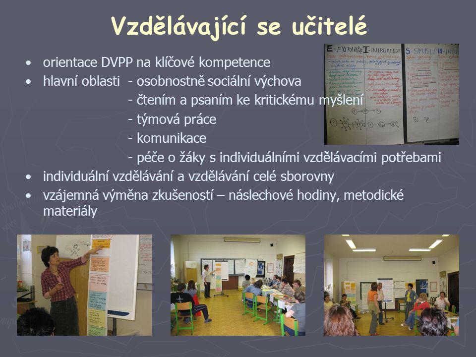 Vzdělávající se učitelé orientace DVPP na klíčové kompetence hlavní oblasti- osobnostně sociální výchova - čtením a psaním ke kritickému myšlení - týmová práce - komunikace - péče o žáky s individuálními vzdělávacími potřebami individuální vzdělávání a vzdělávání celé sborovny vzájemná výměna zkušeností – náslechové hodiny, metodické materiály