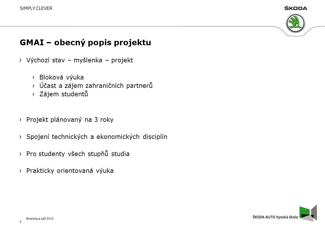 GMAI – obecný popis projektu Výchozí stav – myšlenka – projekt Bloková výuka Účast a zájem zahraničních partnerů Zájem studentů Projekt plánovaný na 3 roky Spojení technických a ekonomických disciplín Pro studenty všech stupňů studia Prakticky orientovaná výuka 3 Bratislava září 2012