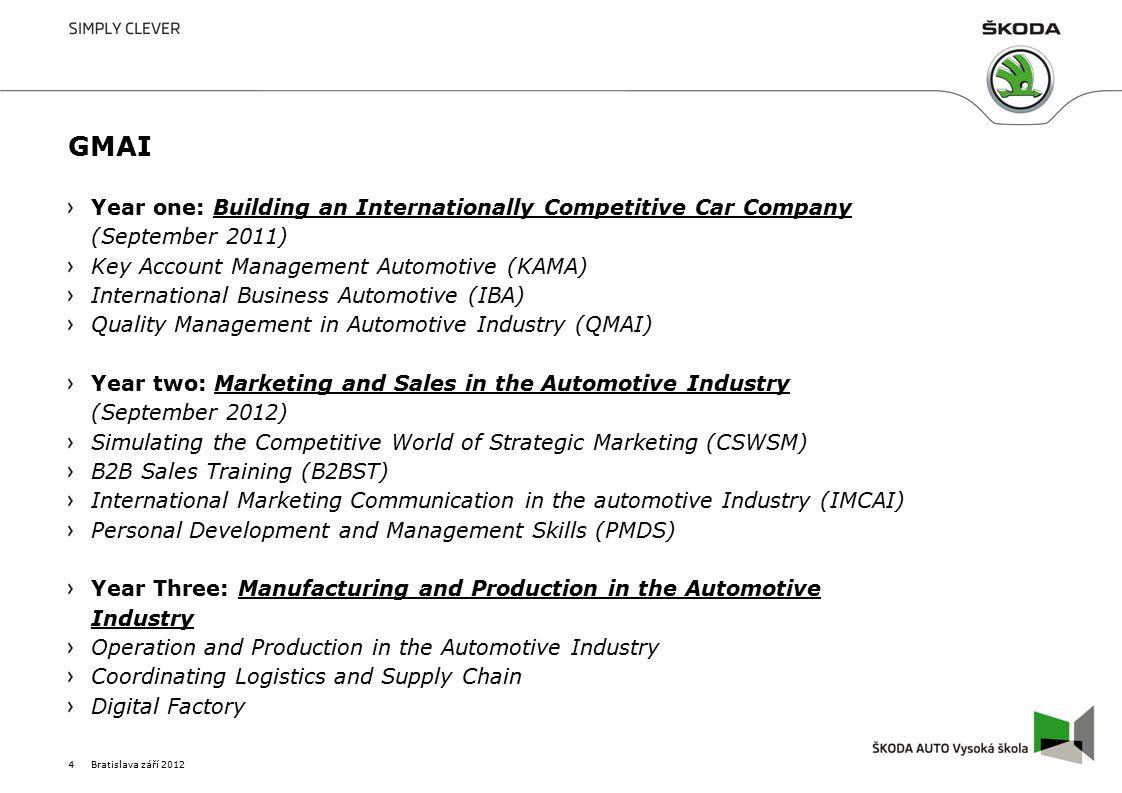 GMAI Year one: Building an Internationally Competitive Car Company 1.