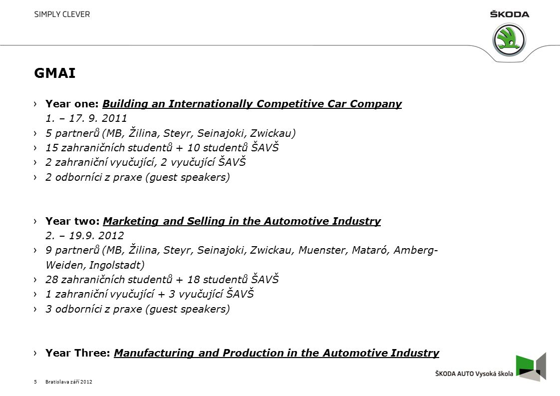 GMAI Year one: Building an Internationally Competitive Car Company 1.