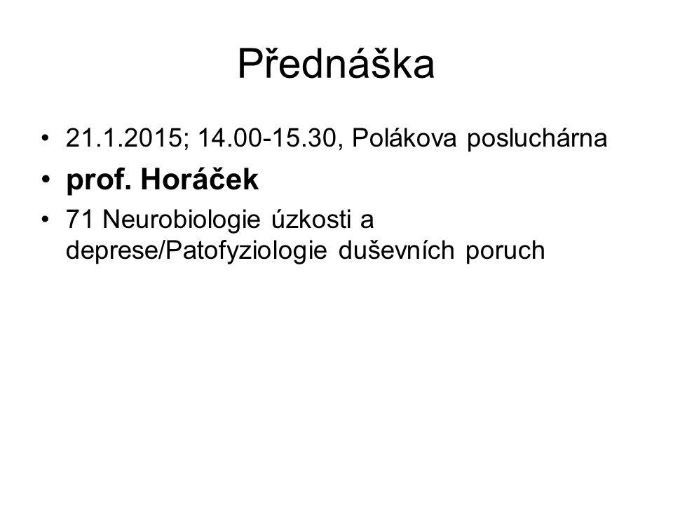 Přednáška 21.1.2015; 14.00-15.30, Polákova posluchárna prof. Horáček 71 Neurobiologie úzkosti a deprese/Patofyziologie duševních poruch