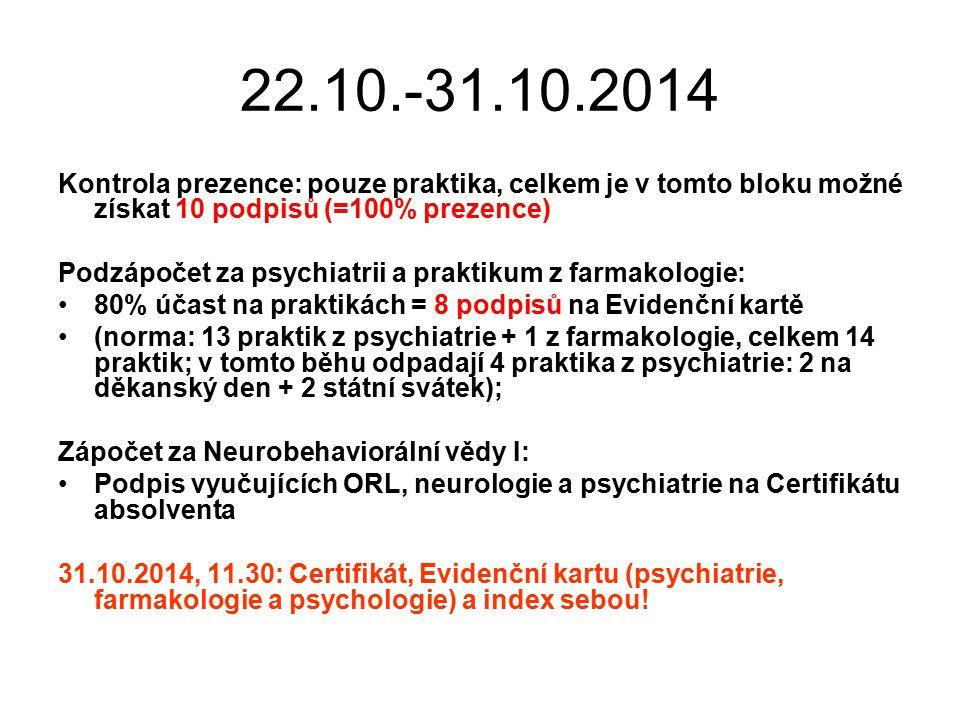 22.10.-31.10.2014 Kontrola prezence: pouze praktika, celkem je v tomto bloku možné získat 10 podpisů (=100% prezence) Podzápočet za psychiatrii a praktikum z farmakologie: 80% účast na praktikách = 8 podpisů na Evidenční kartě (norma: 13 praktik z psychiatrie + 1 z farmakologie, celkem 14 praktik; v tomto běhu odpadají 4 praktika z psychiatrie: 2 na děkanský den + 2 státní svátek); Zápočet za Neurobehaviorální vědy I: Podpis vyučujících ORL, neurologie a psychiatrie na Certifikátu absolventa 31.10.2014, 11.30: Certifikát, Evidenční kartu (psychiatrie, farmakologie a psychologie) a index sebou!