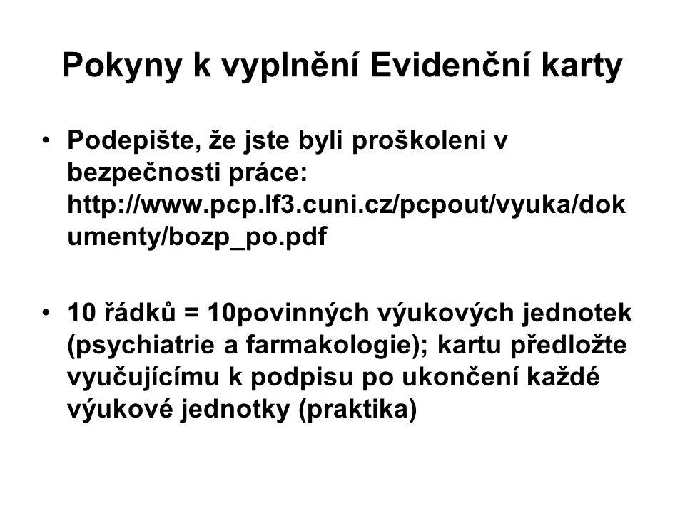 Pokyny k vyplnění Evidenční karty Podepište, že jste byli proškoleni v bezpečnosti práce: http://www.pcp.lf3.cuni.cz/pcpout/vyuka/dok umenty/bozp_po.pdf 10 řádků = 10povinných výukových jednotek (psychiatrie a farmakologie); kartu předložte vyučujícímu k podpisu po ukončení každé výukové jednotky (praktika)