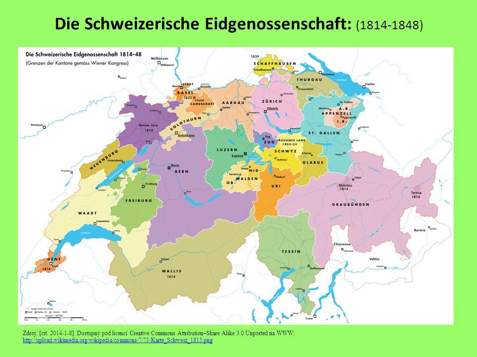 Die Schweizerische Eidgenossenschaft: (1814-1848) Zdroj: [cit.