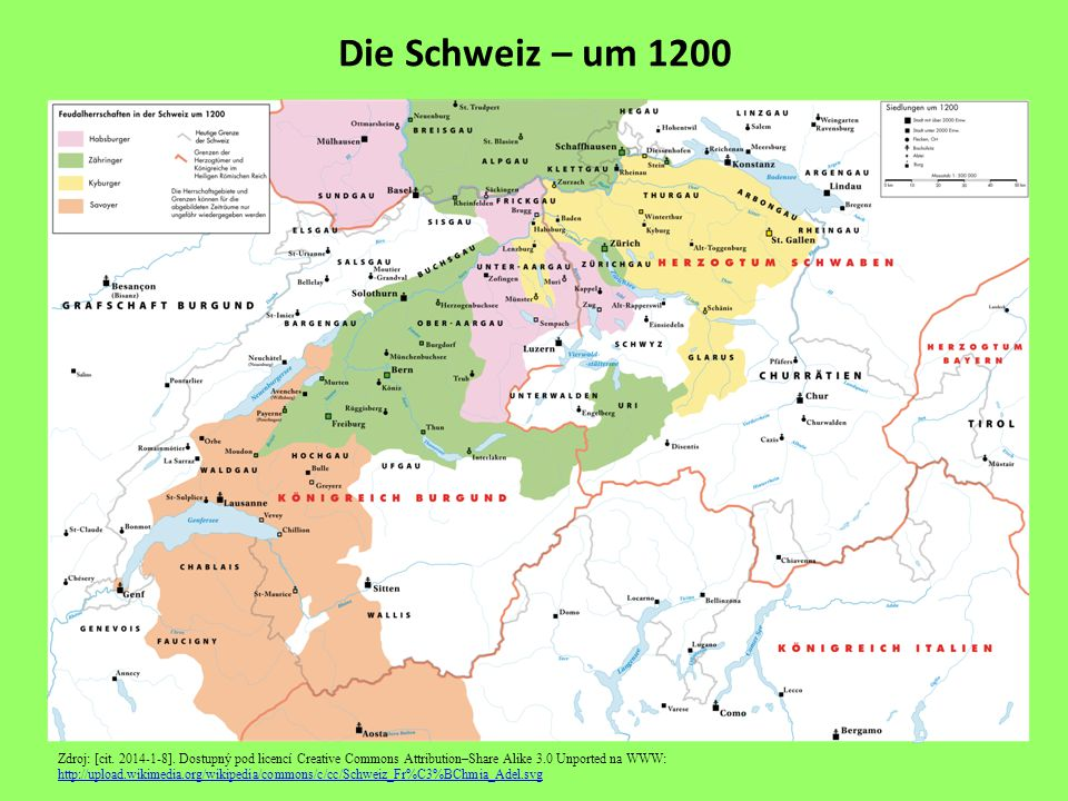 Die Schweiz – um 1200 Zdroj: [cit. 2014-1-8]. Dostupný pod licencí Creative Commons Attribution–Share Alike 3.0 Unported na WWW: http://upload.wikimed