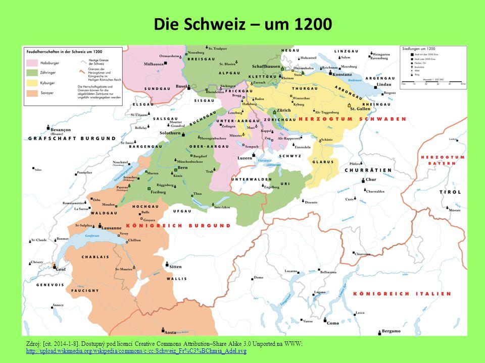 Die Schweiz – um 1200 Zdroj: [cit. 2014-1-8].