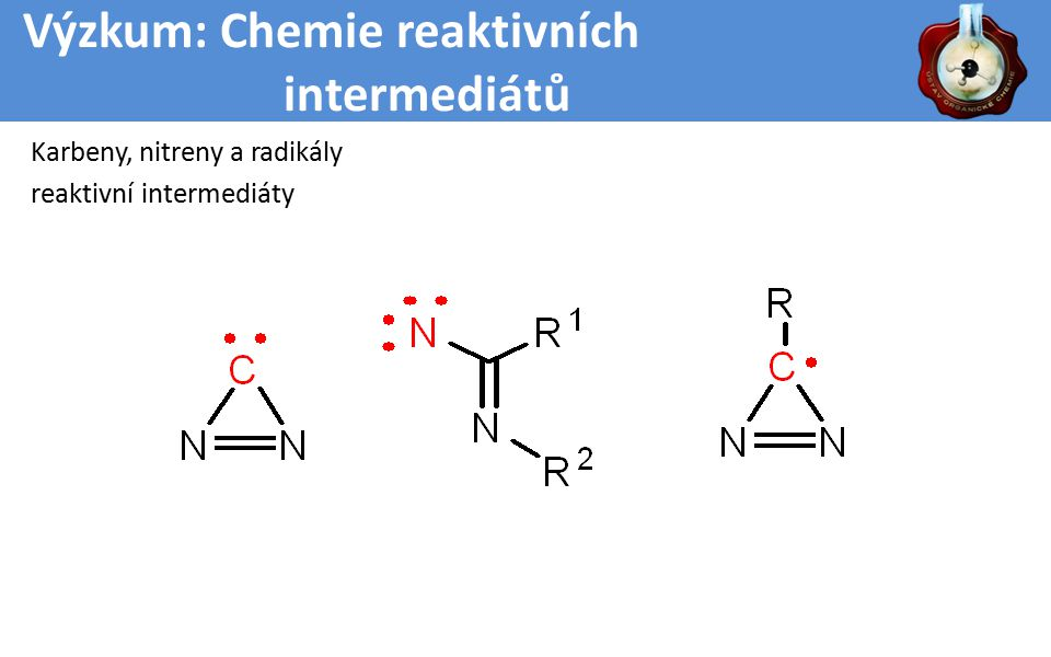 Výzkum: Chemie reaktivních intermediátů Karbeny, nitreny a radikály reaktivní intermediáty