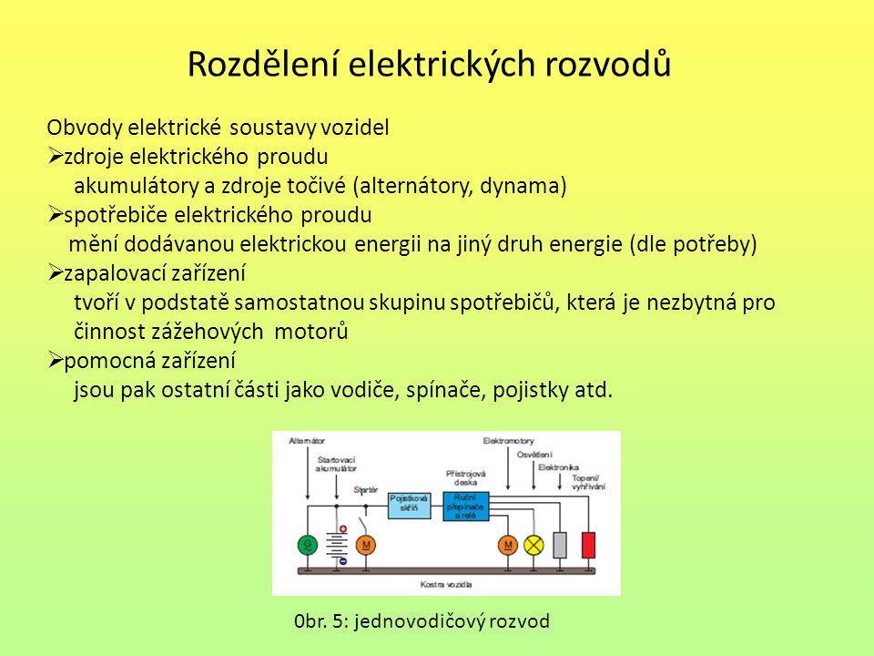 Rozdělení elektrických rozvodů Obvody elektrické soustavy vozidel  zdroje elektrického proudu akumulátory a zdroje točivé (alternátory, dynama)  spo