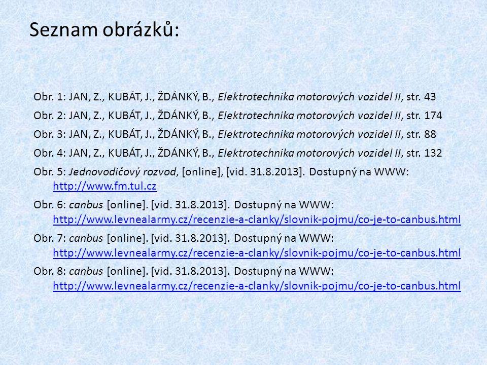 Seznam obrázků: Obr. 1: JAN, Z., KUBÁT, J., ŽDÁNKÝ, B., Elektrotechnika motorových vozidel II, str. 43 Obr. 2: JAN, Z., KUBÁT, J., ŽDÁNKÝ, B., Elektro