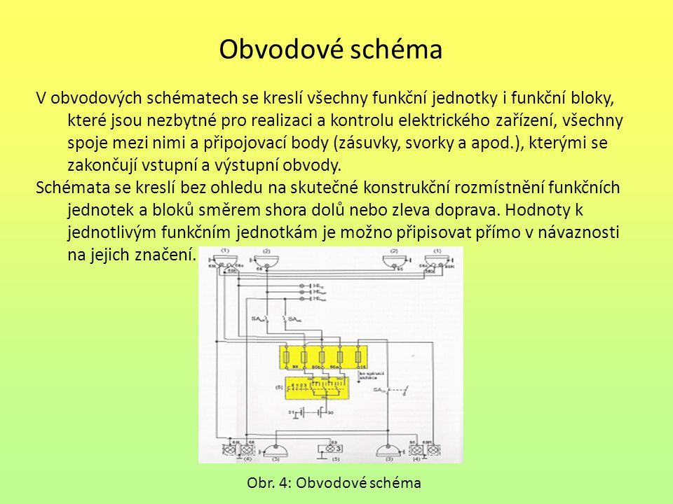 Obvodové schéma V obvodových schématech se kreslí všechny funkční jednotky i funkční bloky, které jsou nezbytné pro realizaci a kontrolu elektrického