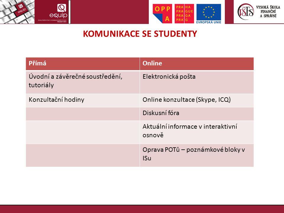 KOMUNIKACE SE STUDENTY PřímáOnline Úvodní a závěrečné soustředění, tutoriály Elektronická pošta Konzultační hodinyOnline konzultace (Skype, ICQ) Disku