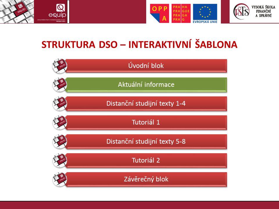 STRUKTURA DSO – INTERAKTIVNÍ ŠABLONA Úvodní blok Aktuální informace Distanční studijní texty 1-4 Tutoriál 1 Distanční studijní texty 5-8 Tutoriál 2 Zá