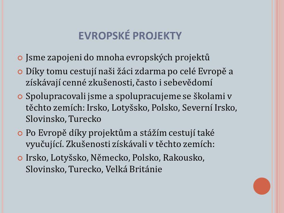 Jsme zapojeni do mnoha evropských projektů Díky tomu cestují naši žáci zdarma po celé Evropě a získávají cenné zkušenosti, často i sebevědomí Spolupracovali jsme a spolupracujeme se školami v těchto zemích: Irsko, Lotyšsko, Polsko, Severní Irsko, Slovinsko, Turecko Po Evropě díky projektům a stážím cestují také vyučující.