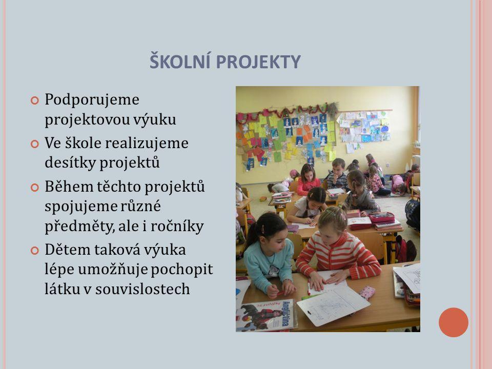 Podporujeme projektovou výuku Ve škole realizujeme desítky projektů Během těchto projektů spojujeme různé předměty, ale i ročníky Dětem taková výuka lépe umožňuje pochopit látku v souvislostech