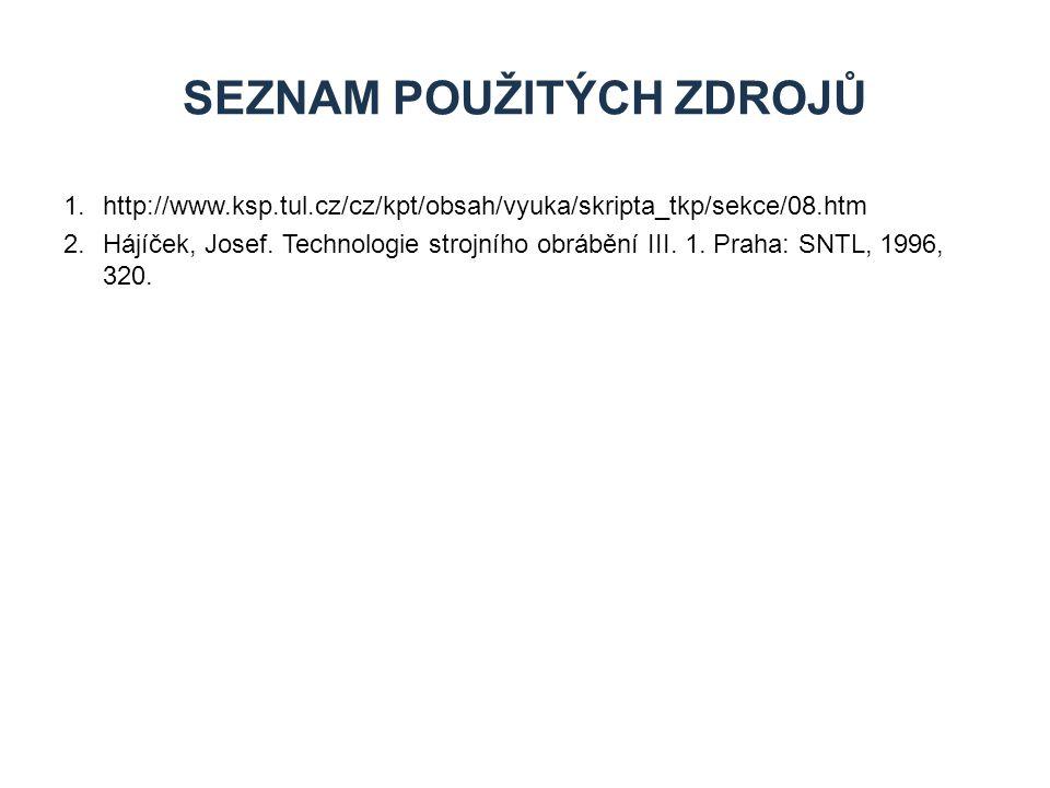 1.http://www.ksp.tul.cz/cz/kpt/obsah/vyuka/skripta_tkp/sekce/08.htm 2.Hájíček, Josef. Technologie strojního obrábění III. 1. Praha: SNTL, 1996, 320. S