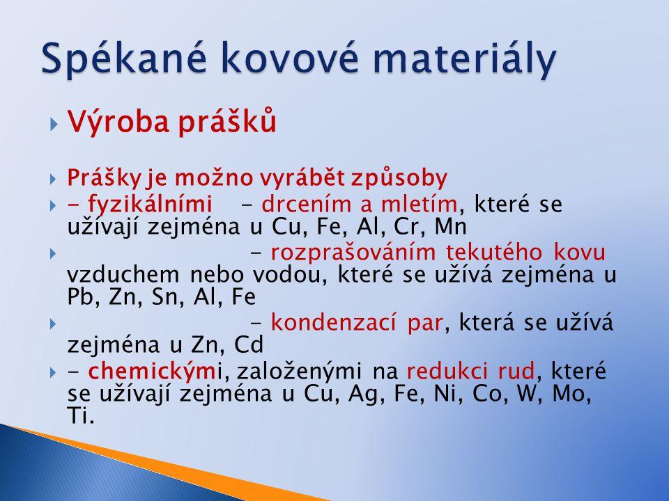  Výroba prášků  Prášky je možno vyrábět způsoby  - fyzikálními - drcením a mletím, které se užívají zejména u Cu, Fe, Al, Cr, Mn  - rozprašováním